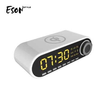 Eson Style wireless charge Stereo Music 10W LED digital display clock temperature trending alarm radio FM Bluetooth speakers