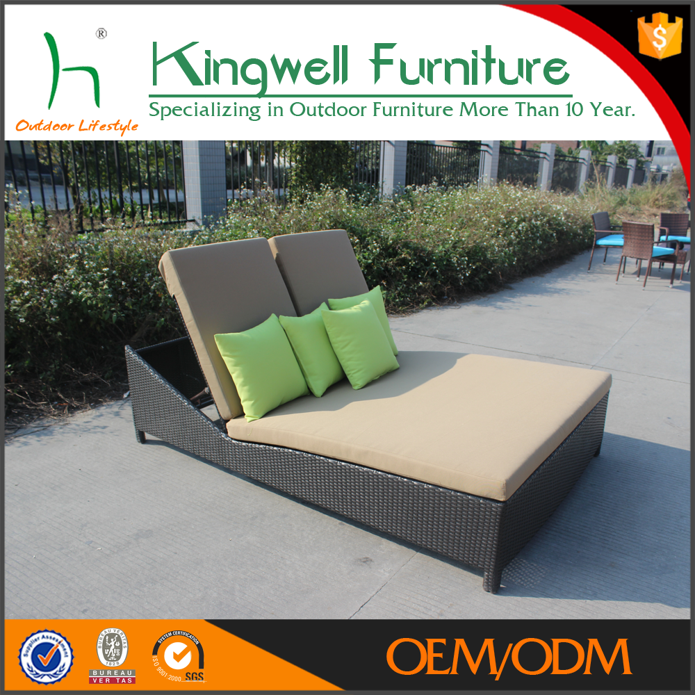 Garden rattan furniture sun lounger used for hotel patio furniture