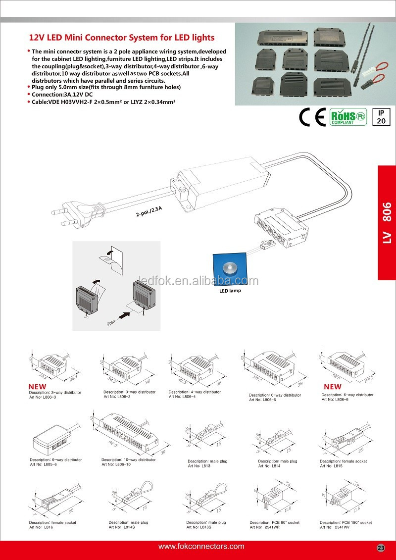 Led Downlight Dc24v Mini 2 Pin Dupont Female Socket Wiring Connector Fitting How To Install Downlights For Furniture Cabinets Lights