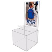 High Clear Acrylic Cube Ballot Box Money Raising Box,Upscale Mini Plastic Acrylic Charity Donation Box
