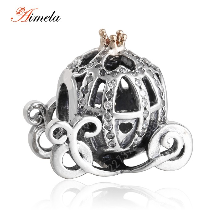 ... pandora baby carriage charm 14k gold plated crown 925 sterling silver  pave cz cinderella pumpkin carriage ... f1a1db0b9