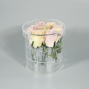 Factory high quality hot selling clear acrylic rose flower round box stand luxury with hat lid