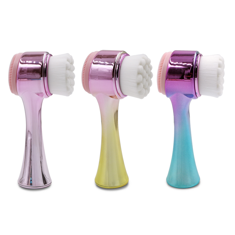 Factory OEM Skin care 2 in 1 double side facial cleaner Mask face wash brush Silicone facial cleansing brush фото