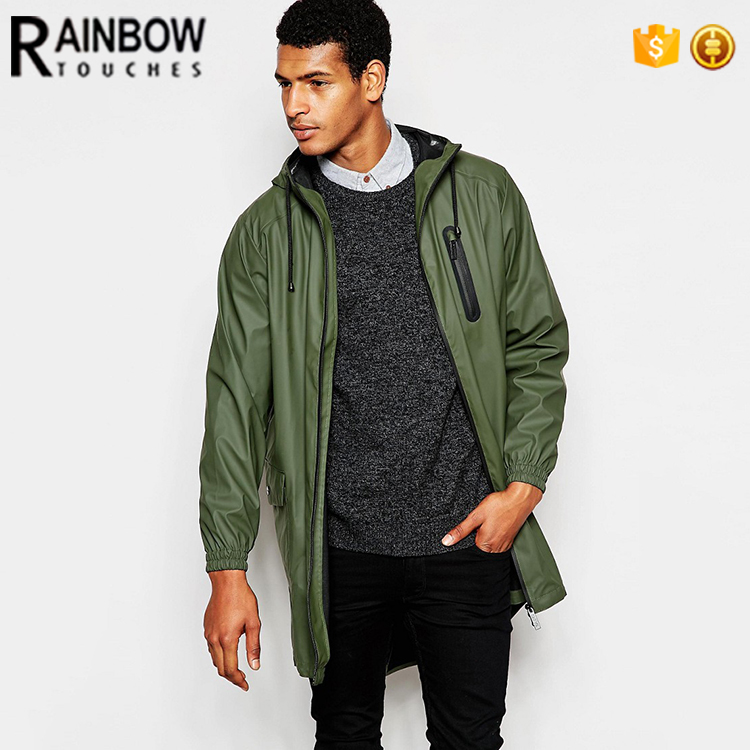 Wholesale Custom Polyester Mens Longline Waterproof Rain Jacket