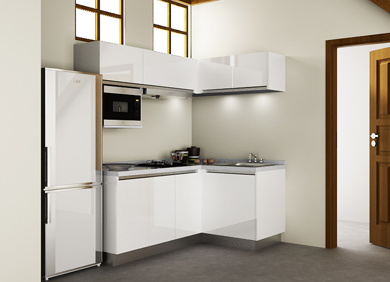 Cambodia Project Simple Design White Lacquer Hotel Kitchen ...