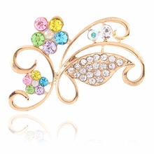 European and American hyperbole women's temperament hollow flowers diamond brooches pin