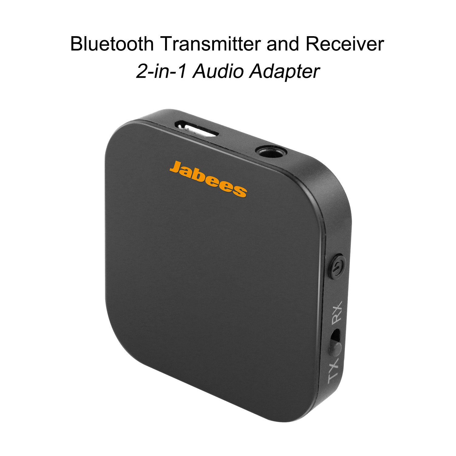 Jabees B-Link Bluetooth 4.1 TV Transmitter and Receiver 2-in-1 Wireless Audio Adapter, atpX Low Latency, Audio Streaming to Two Headphones, For TV and Audio Devices with RCA or 3.5mm Audio Jack