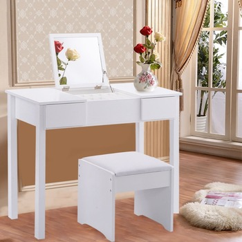 huge selection of ae44f ff592 White Dressing Table,Mirror & Stool Set 2 Drawer Bedroom Makeup Desk - Buy  Makeup Desk,Mirror & Stool Set,Bedroom Dressing Furniture Product on ...