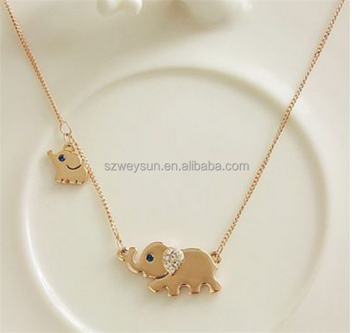 Cute Elephant Family Stroll Design Fashion Women Charming Crystal Chain Necklace Chocker necklace фото
