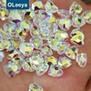 Factory wholesale high shiny clear bottom non hot fix gemstone heart shape K9 flat back nail art stone