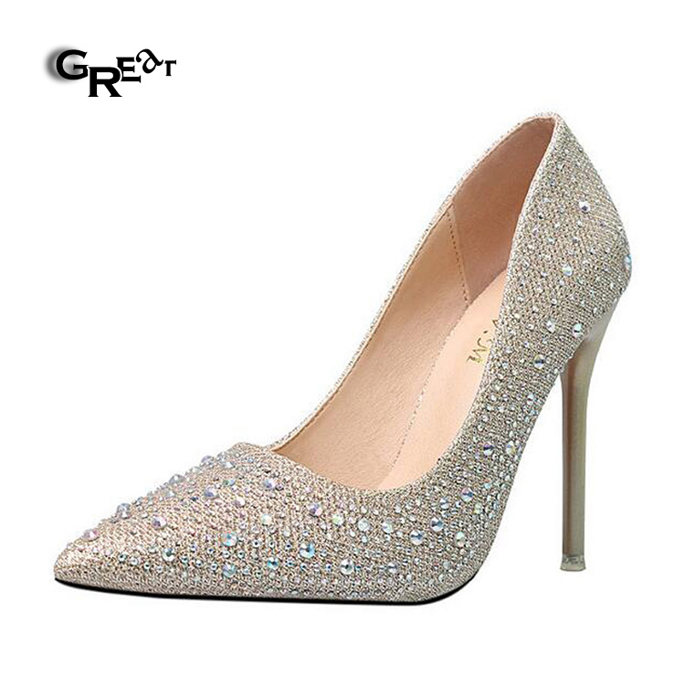2018 China Crystal Pearl High Heeled Wedding Shoes Bride Glossy Silver Gold Sexy Girls High Heels