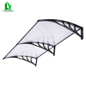 Polycarbonate rain cover awning for sale with plastic or aluminum brackets supports