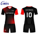 High quality comfortable club american football training jersey soccer uniform red white black