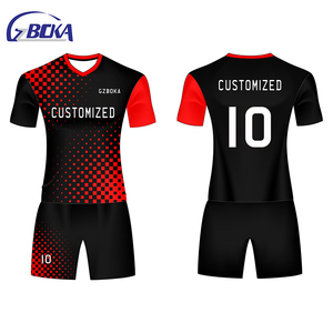 High quality comfortable club football training jersey soccer uniform red white black
