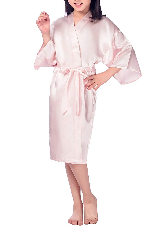 bd7675690d Get Quotations · SexyTown Girls  Kimono Robe Satin Bridal Nightgown for Wedding  Party Birthday