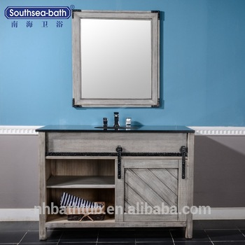 Wholesale Bamboo Grey Bathroom Barn Door Vanity Cabinet For Sale