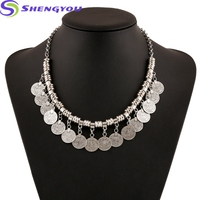 Engraving Silver Plated Large Costume Jewelry Alloy Bead Coin Necklace Wholesale Bead Jewelry