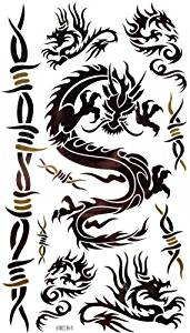 Watertight and sweat of the black dragon and Figure vine tattoo stickers