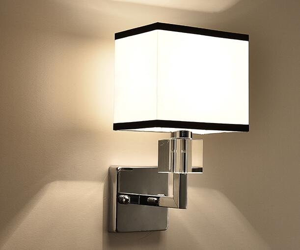 decorative wall mounted led hotel bedside lamp with outlets