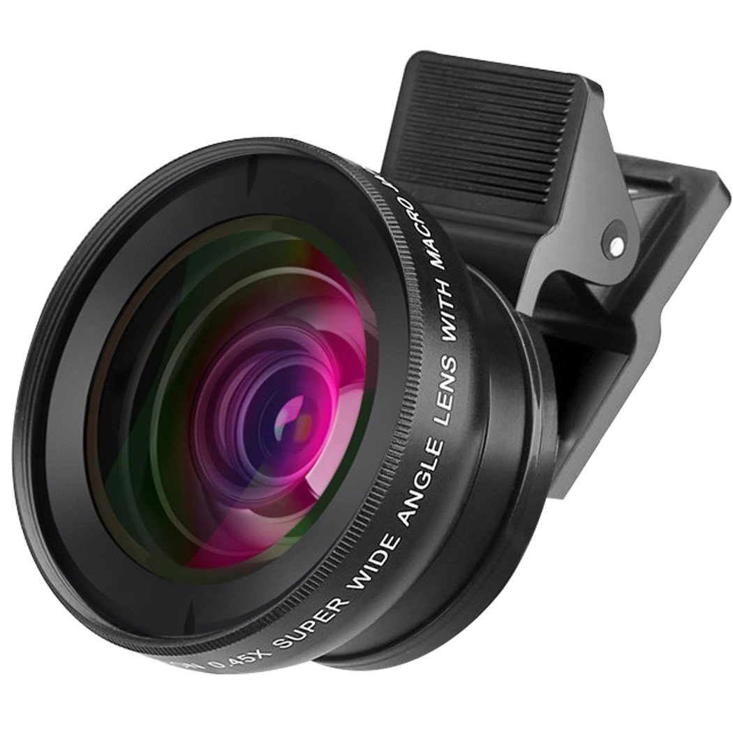 2 in 1HD Camera Lens Kit with 0.45X Super Wide Angle Lens and 12.5X Macro Lens Clip-On Cell Phone Lens for iPhone 6s / 6 Plus / 5s Samsung Galaxy LG HTC All Smartphones BSR International