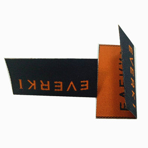 Custom logo brand name heat cut center fold style polyester high density woven label for glasses cloth