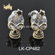 Ghost skull shape jewelry wholesale 24k gold plated CZ micro pave brass stud earring jewelry supplies for college girls
