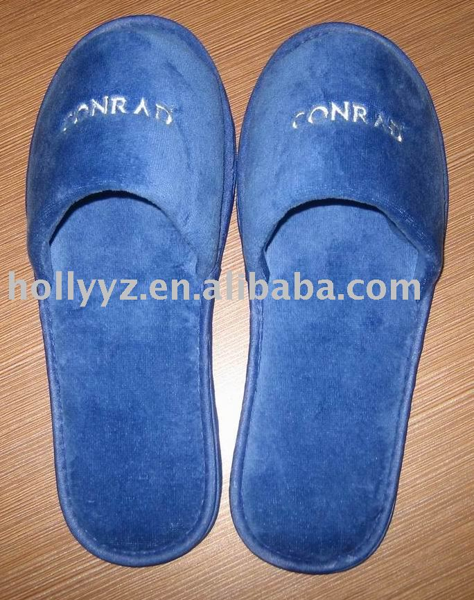 Comfortable velvet hotel slippers,blue soft closed toe hotel slippers
