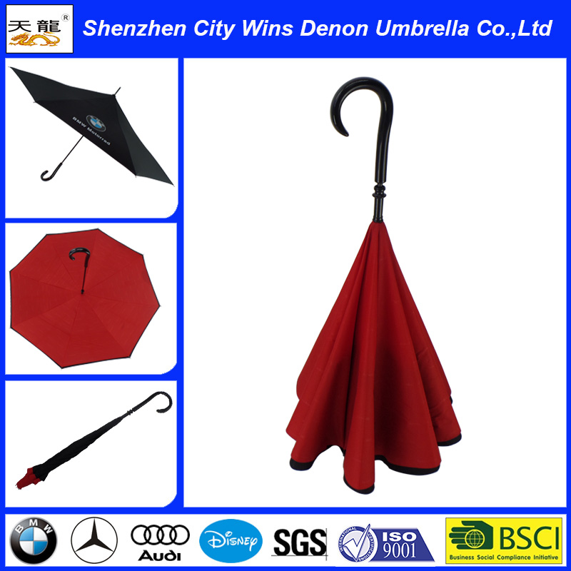 High Quality Umbrella Manufacturer Wholesale Customized Upside Down Umbrella/Reverse Umbrella/inside out Inverted Umbrella
