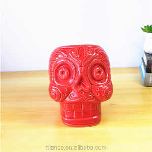 Mexican Day Of The Dead Skull Mug Red Color Ceramic Skull Mug