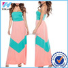Ladies clothing Cute Coral and Mint Chevron Wrapped chest Maxi Dress