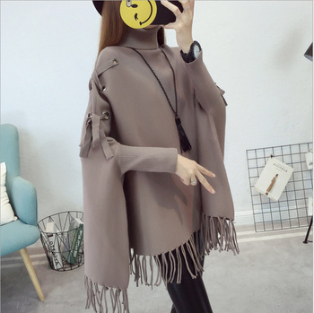 2018 latest elegant roll neck high quality women tassel winter cape sweater pullover
