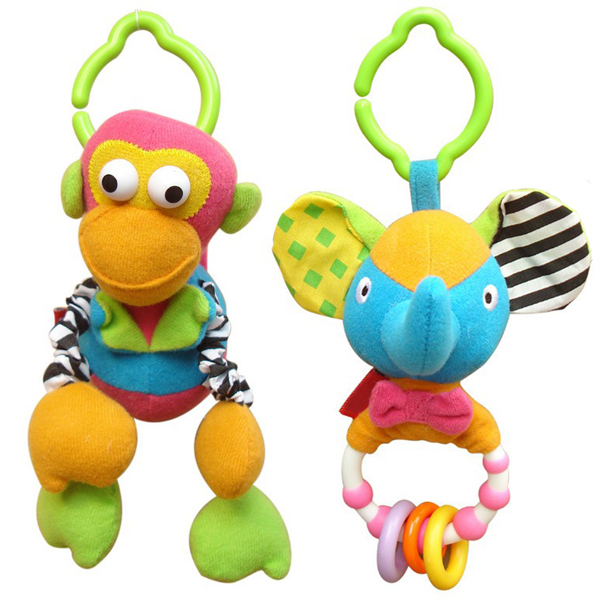 2pcs/lot Animal Fun Plush Baby Rattles Toys 0-12 Months Baby Mobiles In The Crib Stuffed Doll Toys For Baby Girls Boys