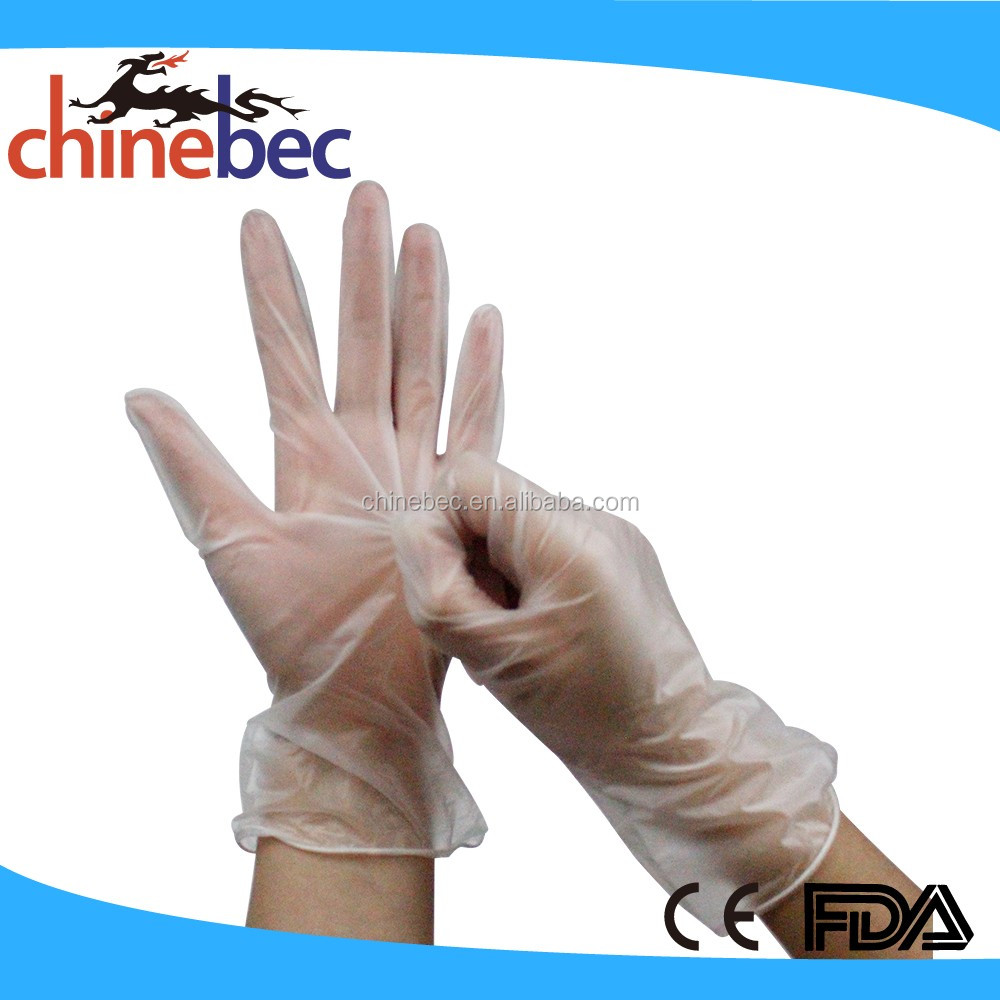 Antistatic Disposable Single Chlorination Vinyl Gloves for Hospital,Labs