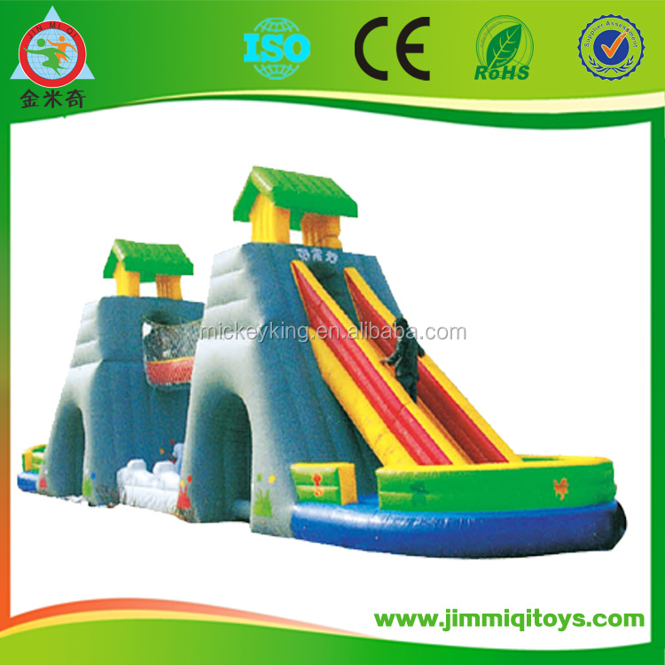 Cheap Cartoon design children inflatable bouncer jumping/bouncy castle with slide
