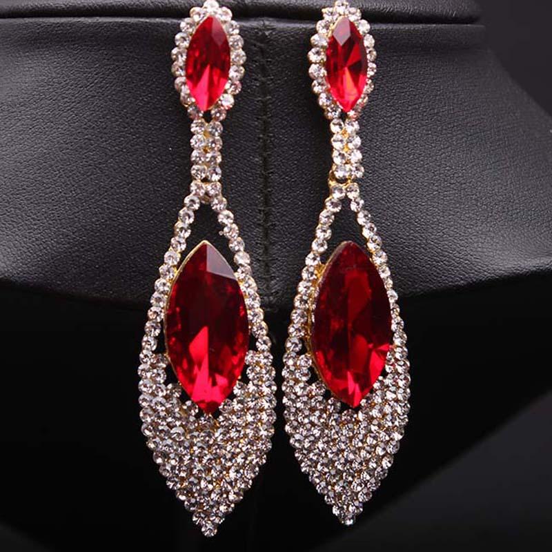 81e682a81b45 Fancylove joyería cristal rojo rubí pendientes largos exagerado pendientes  para ...