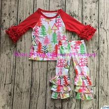Yiwu wholesale cheap factory baby girls boutique clothing set 2pcs t-shirts match pants kids outfit ruffle clothes outfit
