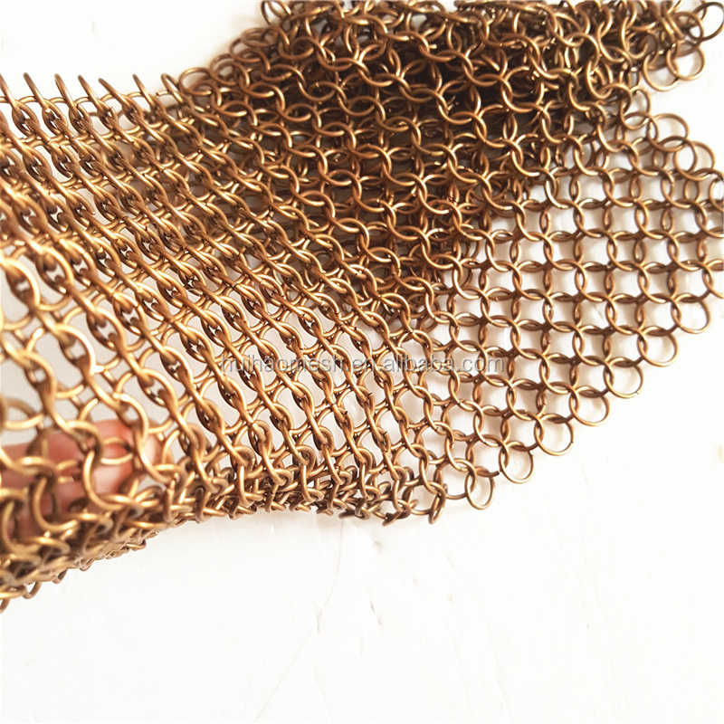 Copper /Stainless steel 304/316 chain mail ring <strong>mesh</strong>