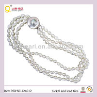 wholesale fashion classical jewelry knotted baroque fresh water pearl necklace jewelry with 925 silver clasp in China alibaba