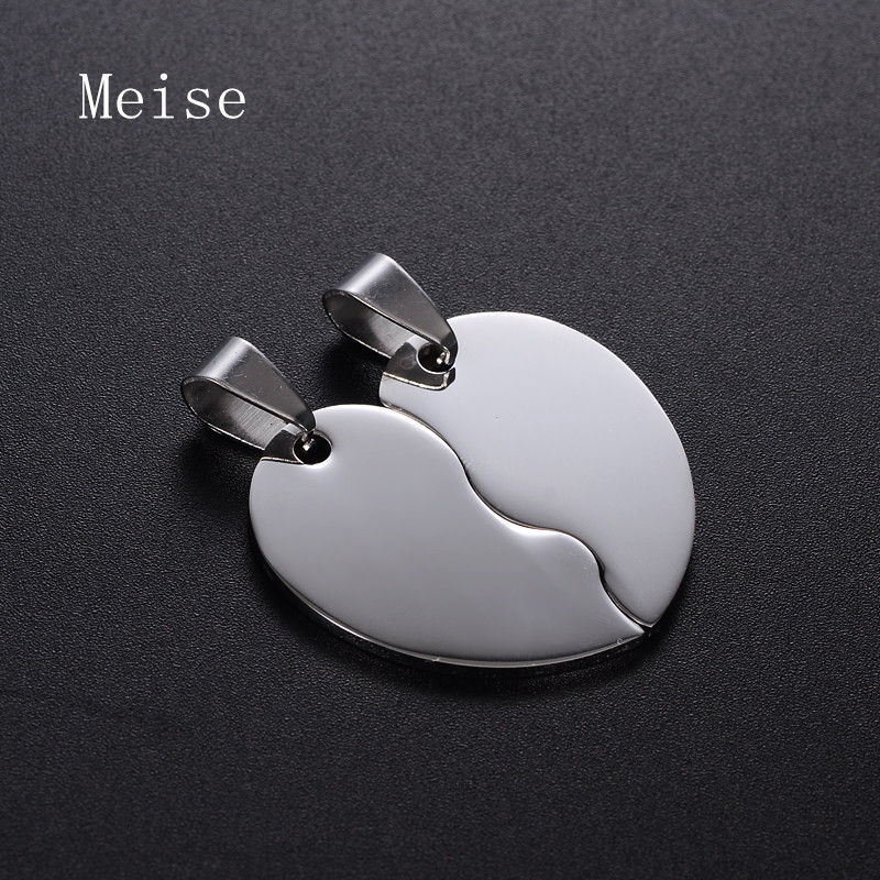 Yiwu Meise Simple Blank Couple Heart Stainless Steel Friendship Pendant for Engrave Unique Designs Jewelry