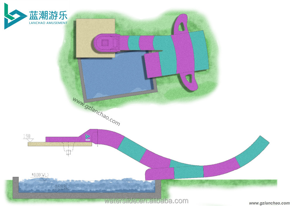Simple small water slides combination for water park/ swimming pool
