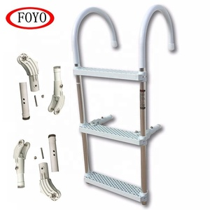 China Foyo Marine Accessories 3-Step Aluminium Boat Boarding Ladder Hook Over