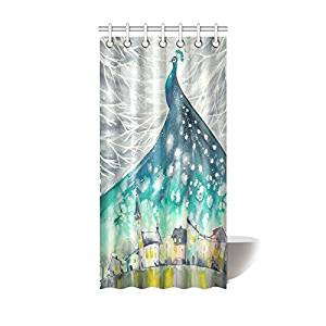 Get Quotations InterestPrint Home Bathroom Decor Watercolor Peacock Feather Shower Curtain Hooks 36x72 Inch Blue Green Turquoise