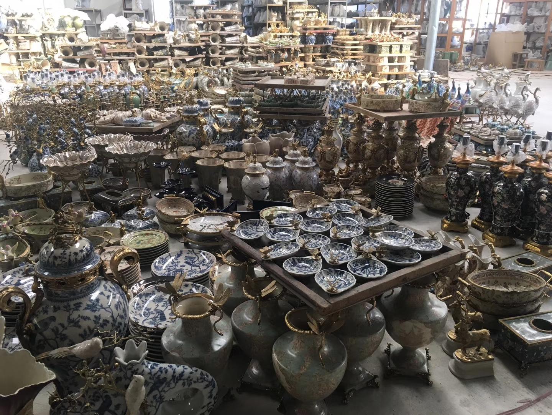 Antigo de cerâmica tipos de Cerâmica Vaso de Flor vaso de flor com decoração de latão Com Bronze