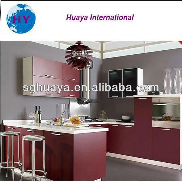 Mejor venta de mueble cocina vino tinto color melamina puerta ...
