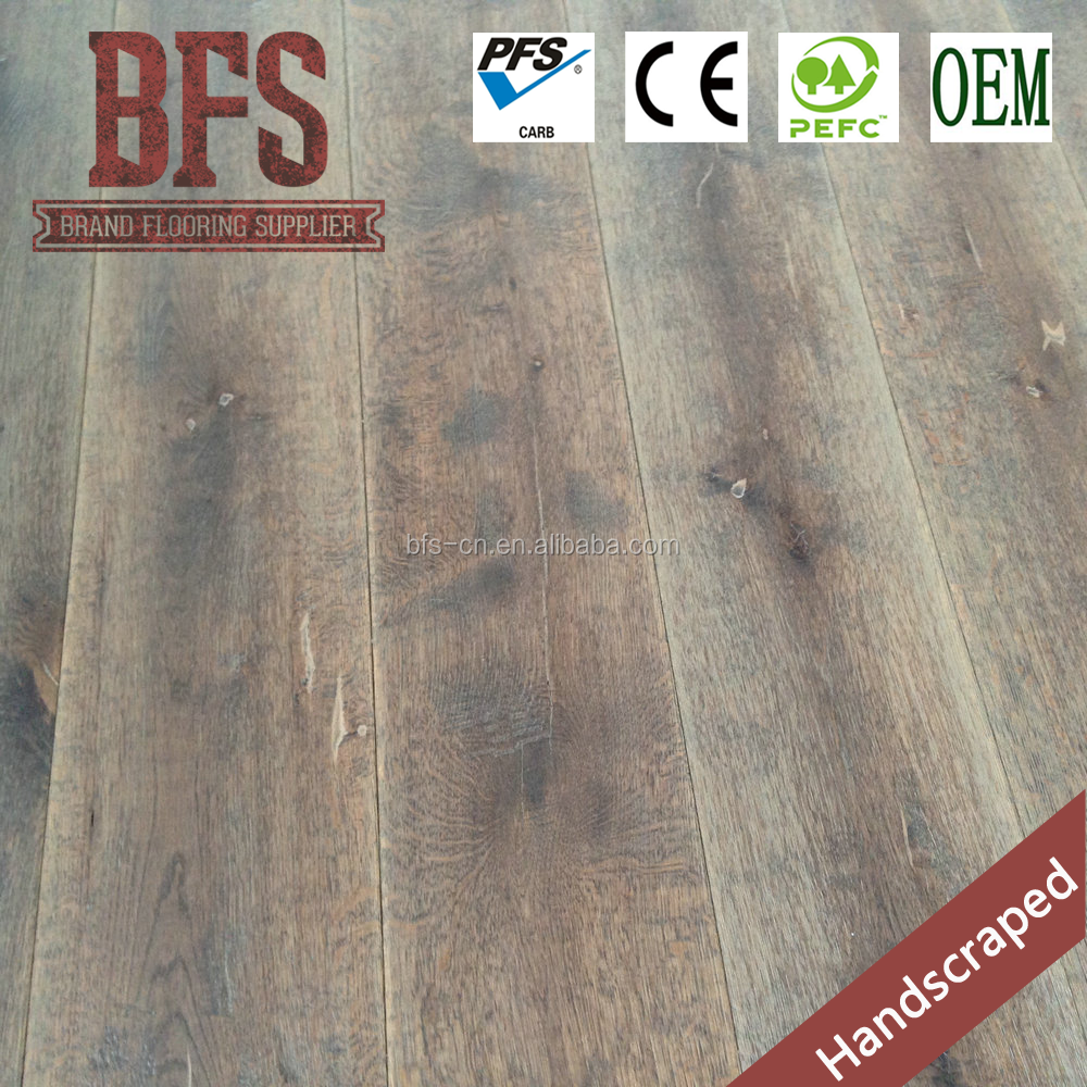 Distressed 15mm Authentic Dark brown Oak 3 layer Engineered Wood Flooring with Handscrape
