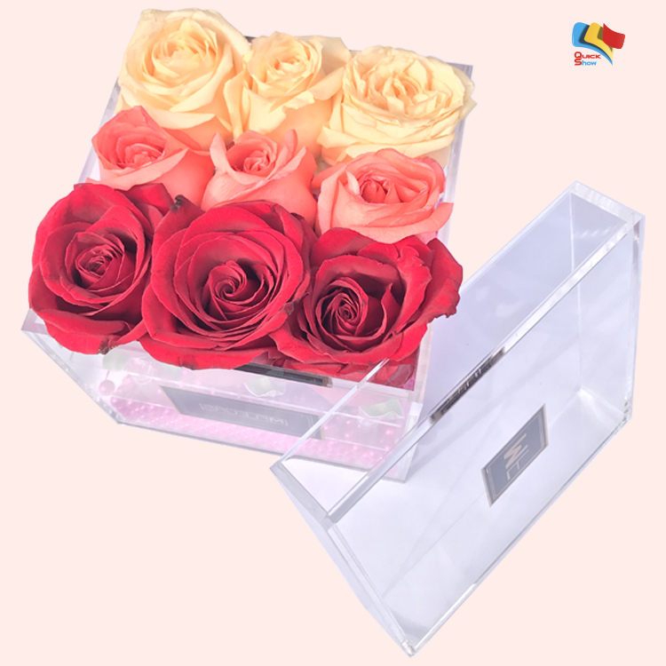 cheap plastic wholesale custom flower acrylic rose box for shop