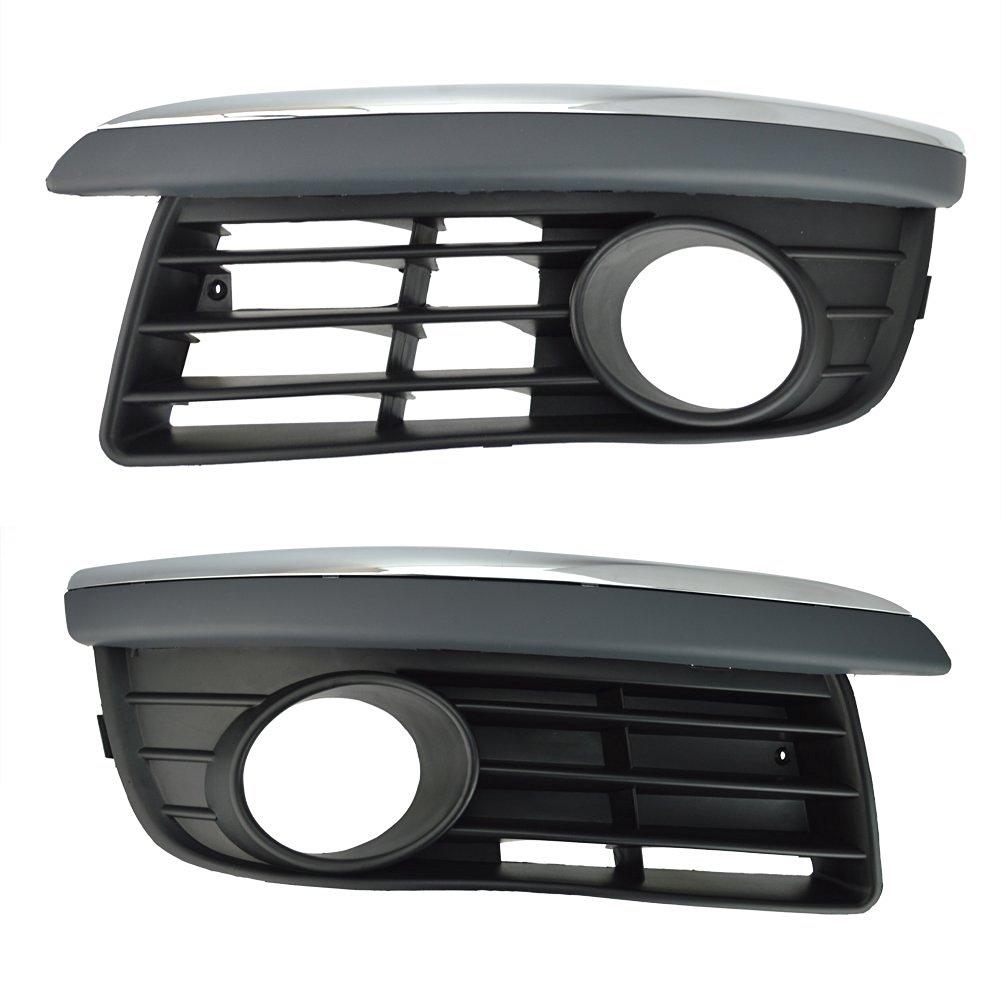 Runmade Front Lower Bumper Driver & Passenger Side Grill Insert W/ Chrome Trim for 06-10 Volkswagen Jetta/Bora Mk5 ( L&R ,Pack of 2 )