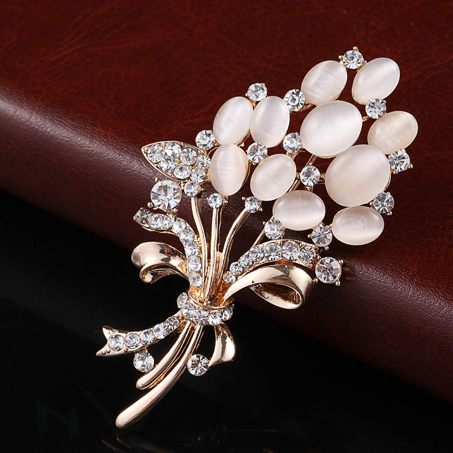 Crystal Brooch pins Vintage Opal Flower brooches for women wedding party broches mujer hijab pins-in Brooches