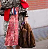 Modish and fashionable women real mink fur handbags