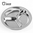 public canteen stainless steel food tray dinner plates with compartment